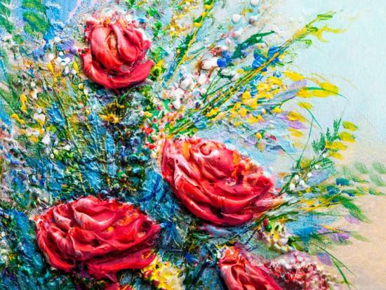 Объемные розы маслом репродукция