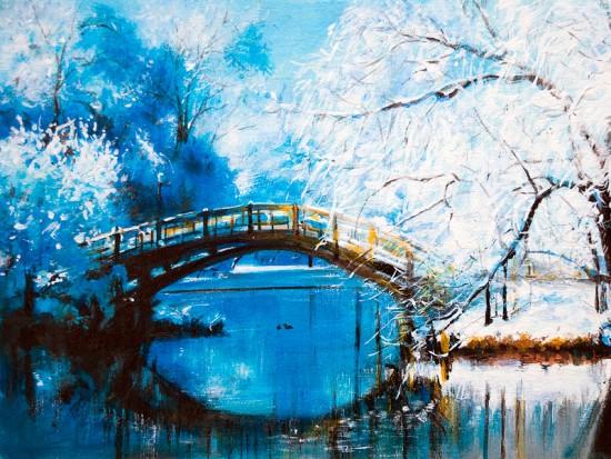 Пейзаж Мост в парке